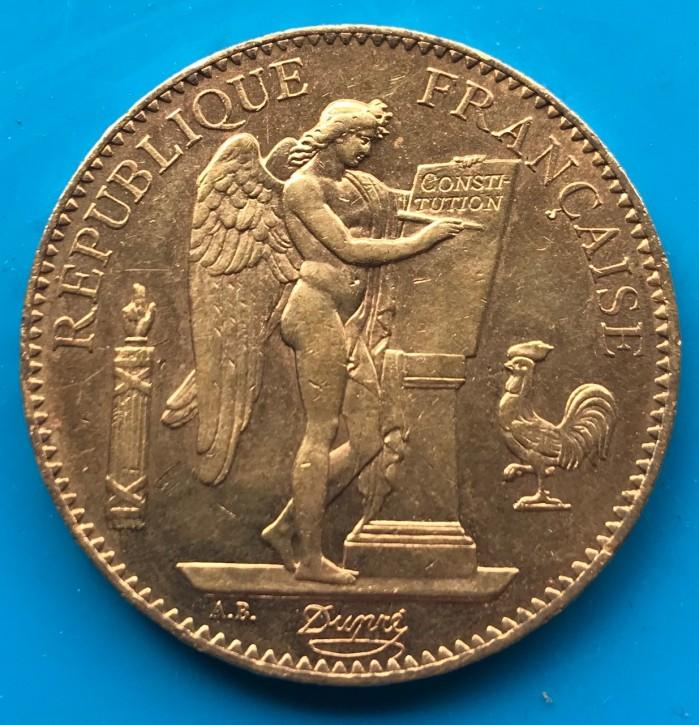 100 Francs Frankreich stehender Engel / Genius - 29,05 Gramm Gold fein ( II.Wahl )