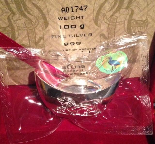 "100 Gramm Silber "" Dragon "" Yuanbao / Sycee inkl. Box / COA ( Solar )"