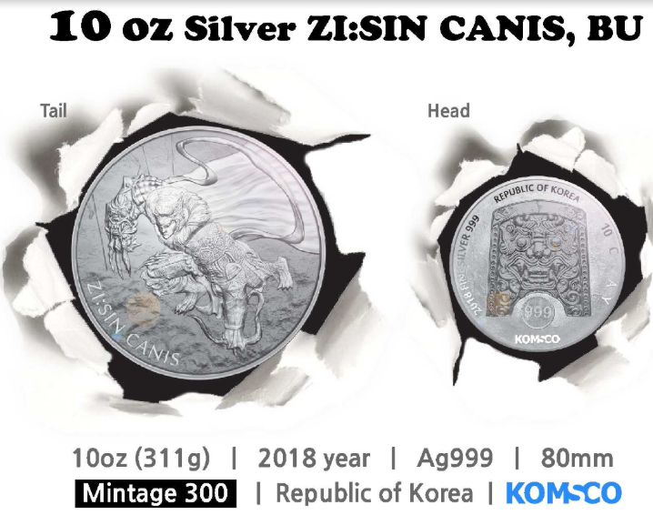 "10 oz Silber Korea "" Canis "" in Kapsel  2018  - max Auflage 300"