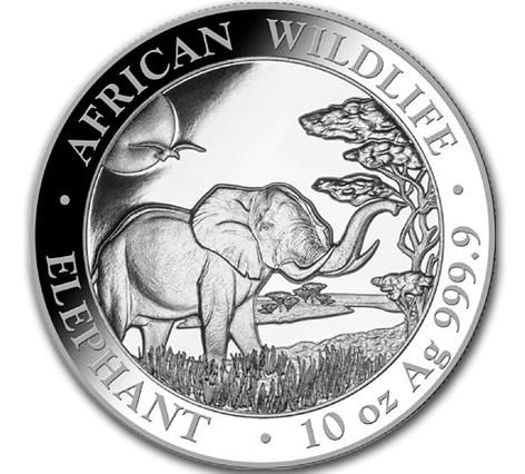 10 oz Silber Somalia Elefant 2019 ( diff.besteuert nach §25a UStG )
