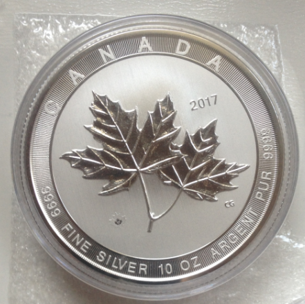 "10 oz Silber Canada "" Magnificent Maple Leaf "" in Kapsel ( diff.besteuert nach §25a UStG )"