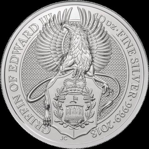 "10 oz Silber Queen's Beast "" Griffin of Edward III "" in Kapsel ( diff.besteuert nach §25a UStG )"