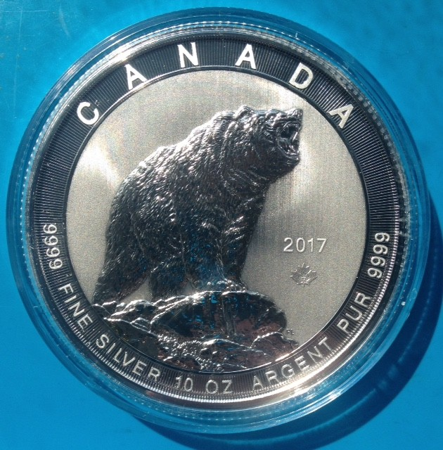 """10 oz Silber Canada """" Grizzly 2017 """" in Kapsel ( diff.besteuert nach §25a UStG )"""
