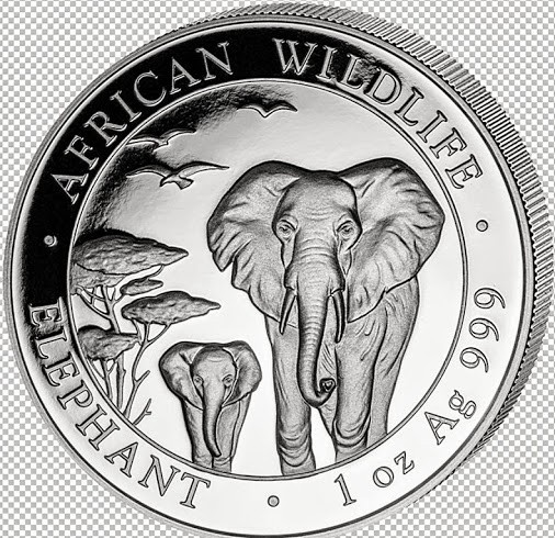 1 oz Silber Somalia Elefant 2015 oxidiert ( diff.besteuert nach §25a UStG )