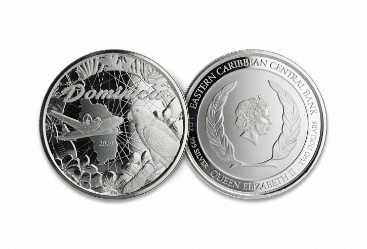"1 oz Silber Dominica 2019 "" Parrot "" Scottsdale Mint / Prooflike in Kapsel ( diff.besteuert nach §25a UStG ) - max 25.000 Stk"
