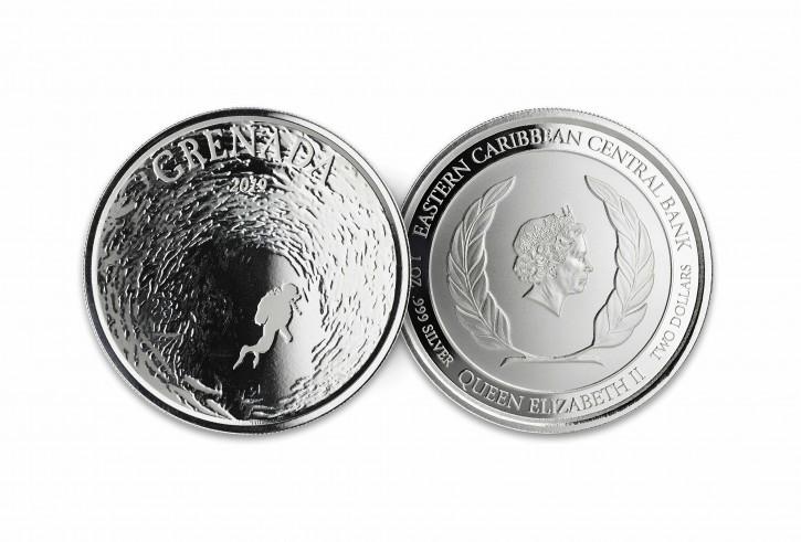 "1 oz Silber Grenada "" Diving Paradies 2019 "" Scottsdale Mint / Prooflike in Kapsel ( diff.besteuert nach §25a UStG )"