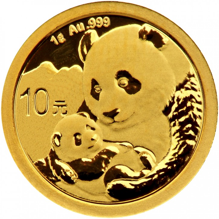 1 Gramm Gold Panda 2019 in Folie - 10 Yuan