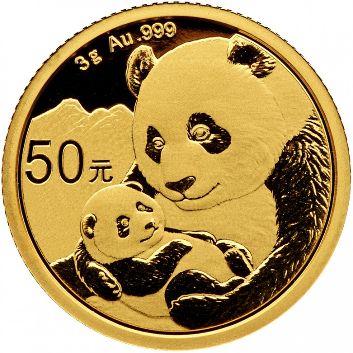3 Gramm Gold Panda 2019 in Folie - 50 Yuan