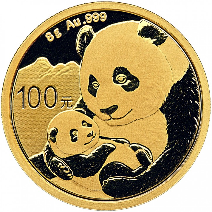 8 Gramm Gold Panda 2019 in Folie - 100 Yuan