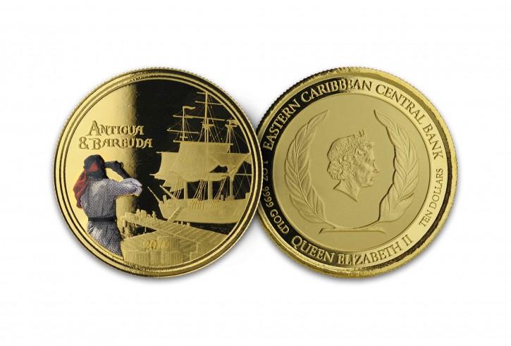 1 oz Gold Proof-colored Antigua & Barbuda Rum Runner 2019 2te Ausgabe Scottsdale Mint / in Box ( Auflage 500 )