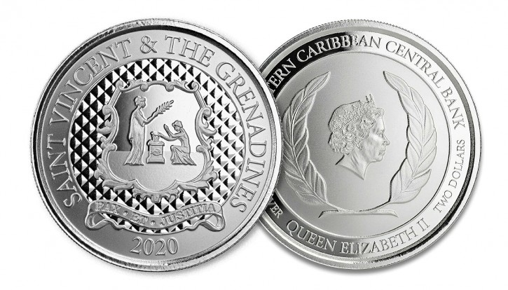 "1 oz Silber St. Vincent & the Grenadines 2020 "" Pax Et Justitia "" Scottsdale Mint / Prooflike in Kapsel ( diff.besteuert nach §25a UStG )"