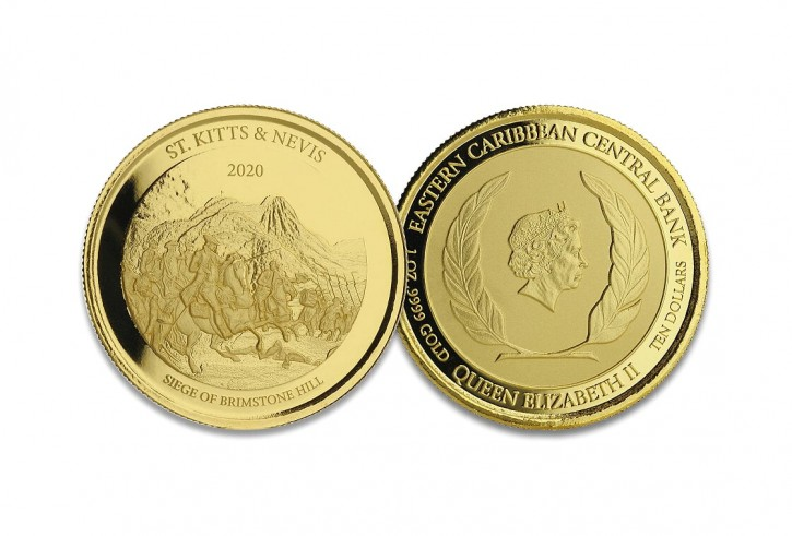 "1 oz Gold BU St. Kitts & Nevis "" Brimstone Hill ""  2020 Scottsdale Mint / in Blister ( Auflage 2.500 )"