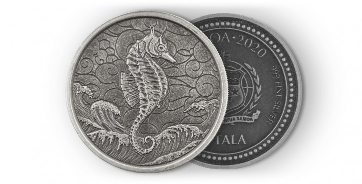 """1 oz Silber Samoa 2020  """" Seahorse / Seepferdchen """" Antique Finish dritte Ausgabe in Kapsel - max. Mintage 2000 ( diff.besteuert nach §25a UStG )"""