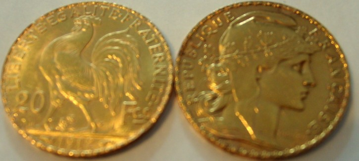 10 Francs Frankreich div. Jahre / Ausgaben ( 2,9 Gramm Gold fein )