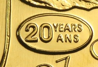 "1/4 oz Gold Maple Leaf 1999 "" 20 years "" - in Folie"