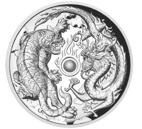 "2 oz Silber High Relief Perth Mint "" Tiger and Dragon "" in Kapsel + Box + COA - max. Auflage 1,500  ( diff.besteuert nach §25a UStG ) - VVK"