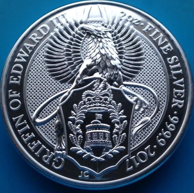"""2 oz Silber Royal Mint / United Kingdom """" Griffin of Edward """" ( diff.besteuert nach §25a UStG )"""