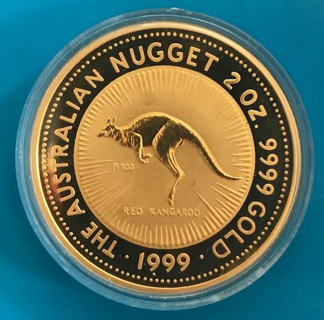 2 oz Gold Känguru 1999 in Kapsel Perth Mint