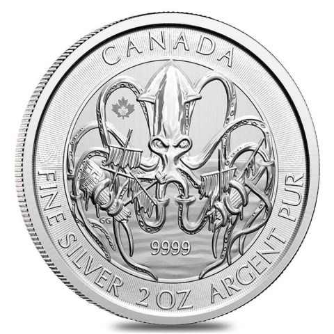 "2 oz Silber Royal Canadian Mint Kraken / Krake 2020 "" Creatures of the North "" ( diff.besteuert nach §25a UStG )"