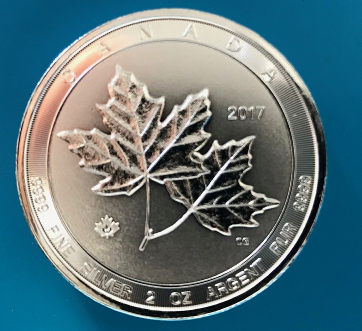 2 oz Silber Royal Canadian Mint Piedfort Maple Leaf 2017/2018 ( diff.besteuert nach §25a UStG )