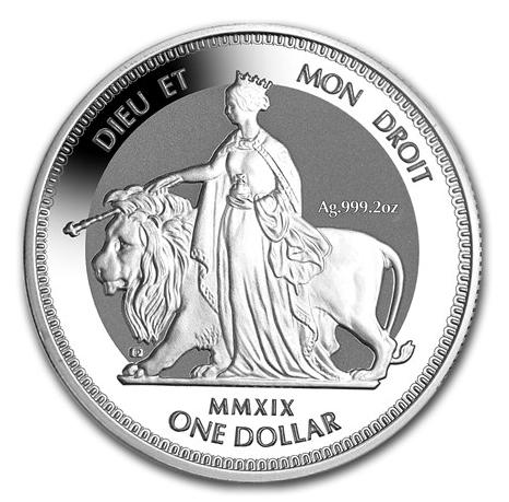 """2 oz Silber Piedfort British Virgin Islands """" Una & the Lion """" Frosted - max 5.000 ( diff.besteuert nach §25a UStG )"""