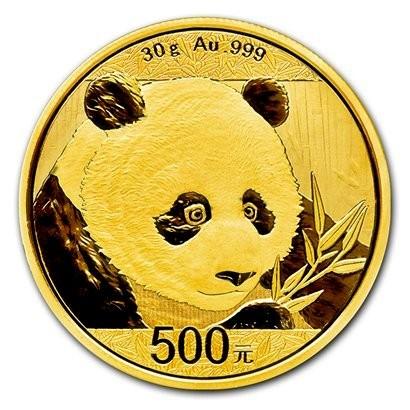 30 Gramm Gold Panda 2018 in Folie - 500 Yuan