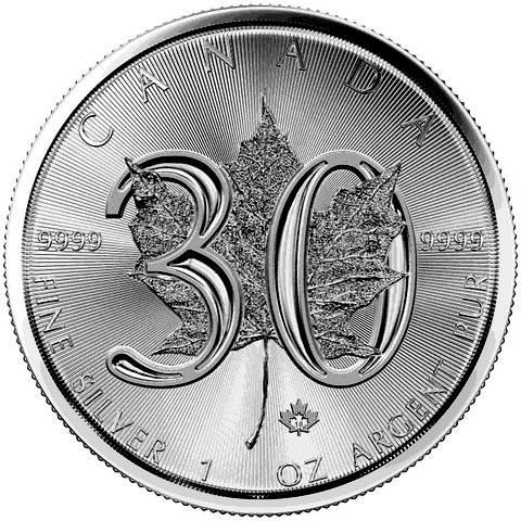"""1 oz Silber Maple Leaf 2018 """" 30 years Anniversary """" ( diff.besteuert nach §25a UStG )"""