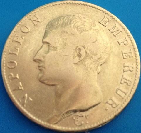40 Francs Frankreich Napoleon ohne Kranz  ( 11,62 Gramm Gold fein )