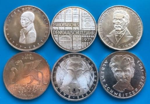 7 Gramm Silber fein : 5 Deutsche Mark ( bis 1979 ) ( diff.besteuert nach §25a UStG )