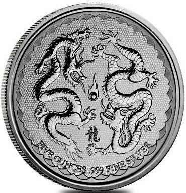 "5 oz Silber Niue ""  Double Dragon in Kapsel "" 2018  ( diff.besteuert nach §25a UStG )"