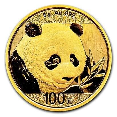 8 Gramm Gold Panda 2018 in Folie - 100 Yuan