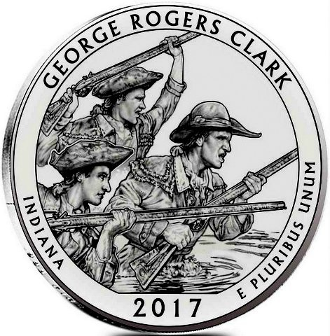 "5 oz Silber USA "" America the beautiful "" Indiana "" George Rogers Clark ( diff.besteuert nach §25a UStG )"