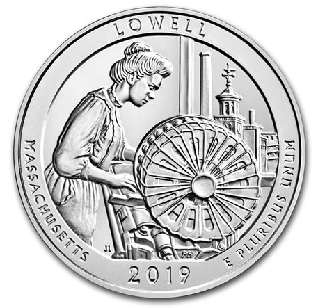 "5 oz Silber USA "" America the beautiful "" Massachusetts Lowell ( diff.besteuert nach §25a UStG )"
