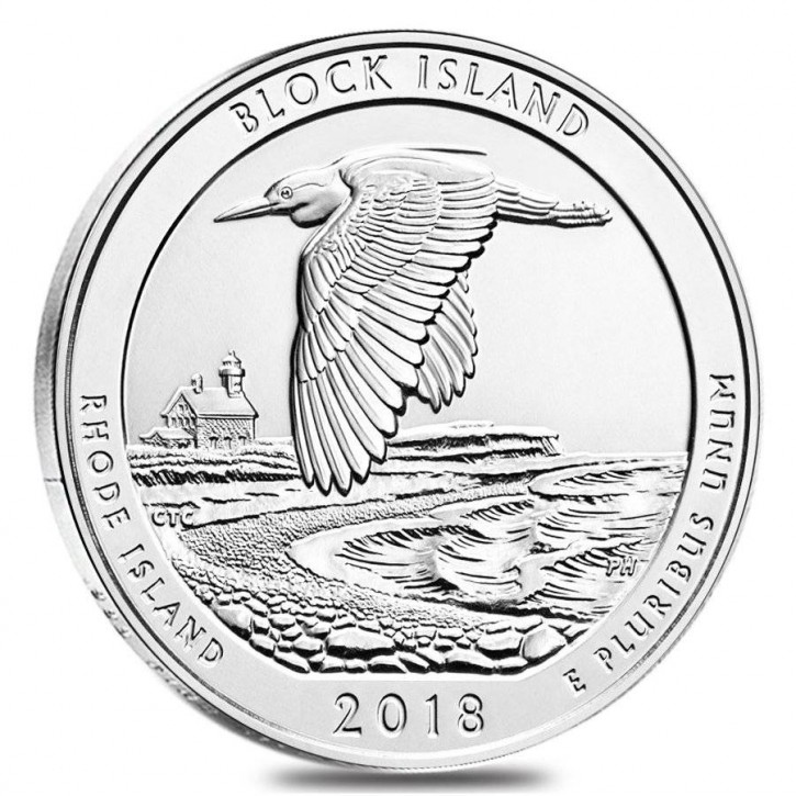 "5 oz Silber USA "" America the beautiful "" Rhode Islands "" Block Island ( diff.besteuert nach §25a UStG )"