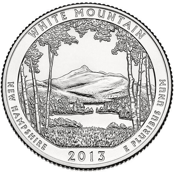 "5 oz Silber USA "" America the beautiful "" New Hampshire - White Mountain National Park ( diff.besteuert nach §25a UStG )"