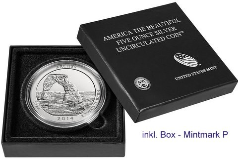 "5 oz Silber USA "" America the beautiful "" Utah - Arches National Park uncirculated /  "" Sammlerausgabe "" inkl.Box ( diff.besteuert nach §25a UStG )"
