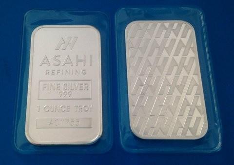 1 oz Asahi Silber Barren einzeln in Folie  ( Japan / früher Johnson Matthey ) ( 19% Mwst )