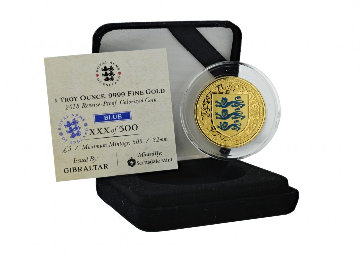 "1 oz Gold Gibraltar Reverse Proof "" Royal Arms of Britain in Blue "" Scottsdale Mint / in Box ( Auflage 500 )"