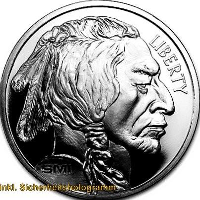 """1 oz Silber Buffalo """" Sunshine Mint Round """" inkl. Sicherheitshologramm ( 19% Mwst )"""