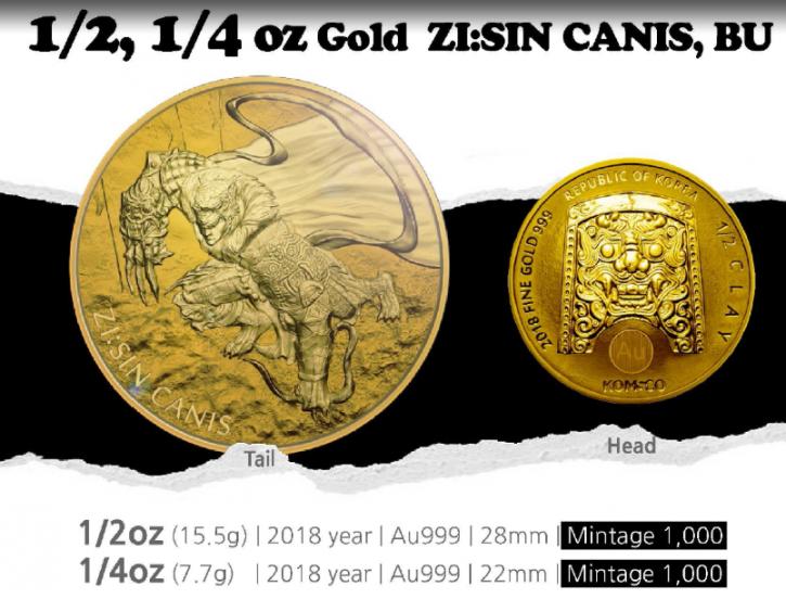 "1/2 oz Gold Korea "" Canis / Hund "" 2018 ( Komsco ) - Auflage max 1.000"
