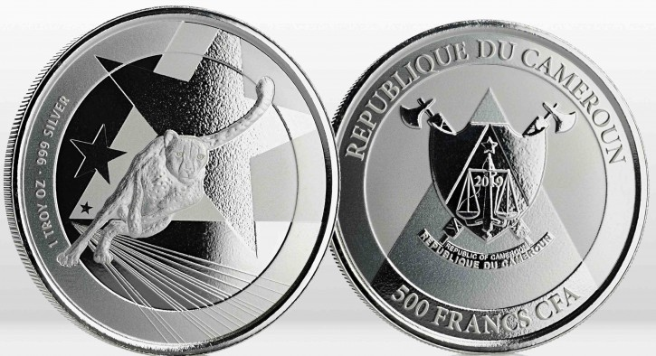 "1 oz Silber Kamerun "" Cheetah 2019 "" Scottsdale Mint / Prooflike in Kapsel - max. 25.000 ( diff.besteuert nach §25a UStG )"