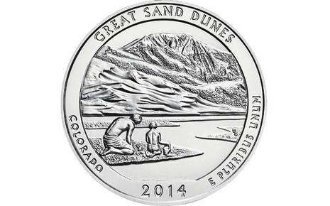 "5 oz Silber USA "" America the beautiful "" Colorado - Great Sand Dunes ( diff.besteuert nach §25a UStG )"