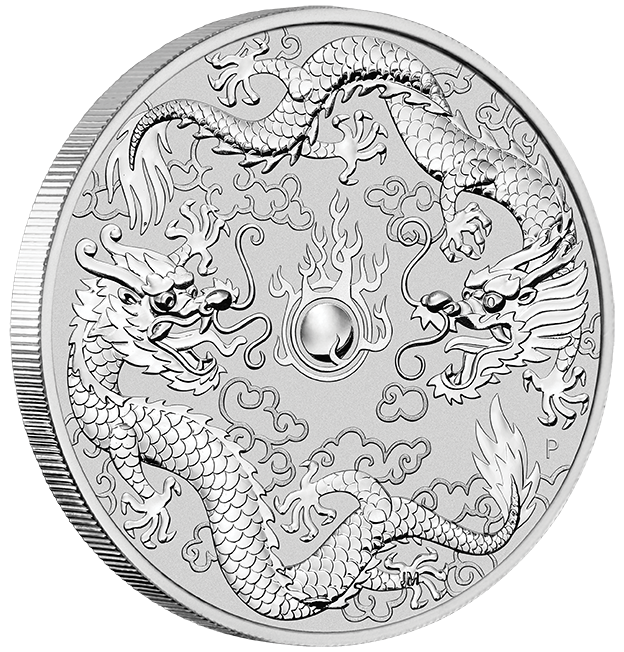 "1 oz Silber Perth Mint "" Double Dragon 2019 "" in Kapsel - max. Auflage 50.000  ( diff.besteuert nach §25a UStG )"