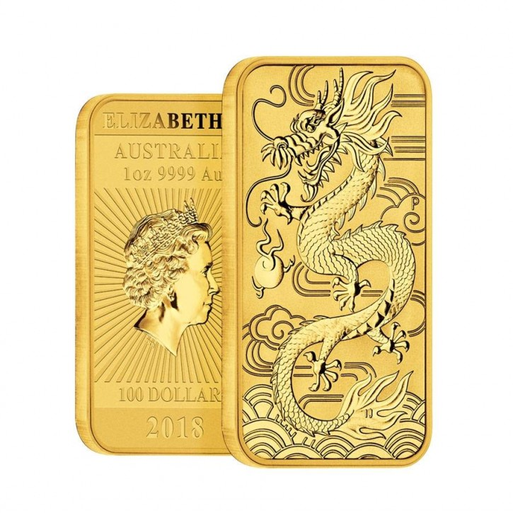 "1 oz Gold Perth Mint "" Dragon "" Gold Coin Bar 2018"
