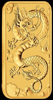 "1 oz Gold Perth Mint "" Dragon "" Gold Coin Bar 2019"