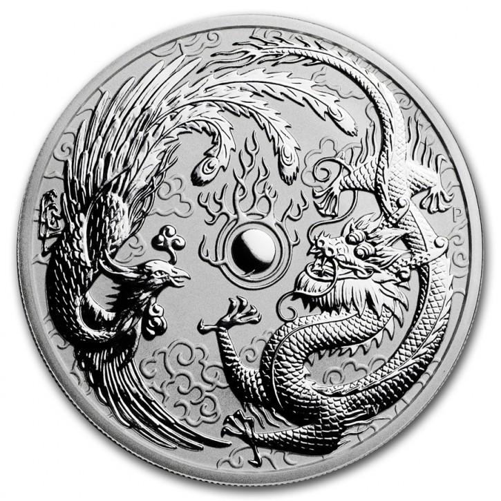 10 oz Silber Dragon und Phoenix 2019 in Kapsel - Auflage 888 ( diff.besteuert nach §25a UStG )