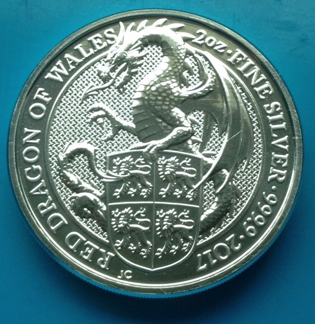 "2 oz Silber Royal Mint / United Kingdom "" Red Dragon of Wales "" ( diff.besteuert nach §25a UStG )"