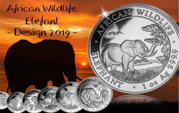 1 oz Silber Somalia Elefant 2019 ( diff.besteuert nach §25a UStG )