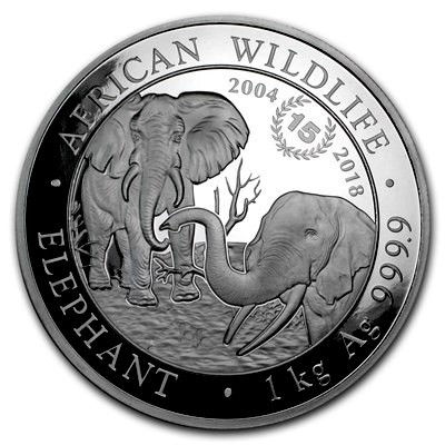 """1 Kilogramm / 1000 Gramm Silber Somalia Elefant 2018 """" Jubiläumsausgabe 15 Jahre """" - max 500 Stk ( diff.besteuert nach §25a UStG )"""