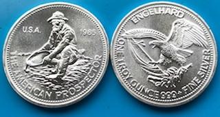 """1 oz Silber Rounds """" Prospector """" Engelhard USA 1980iger Jahre / ggf. altersbedingt leicht oxidiert / Hairlines  ( 19% Mwst )"""